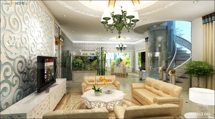 thi công hoàn thiện nội thất biệt thự Vinhome Riverside