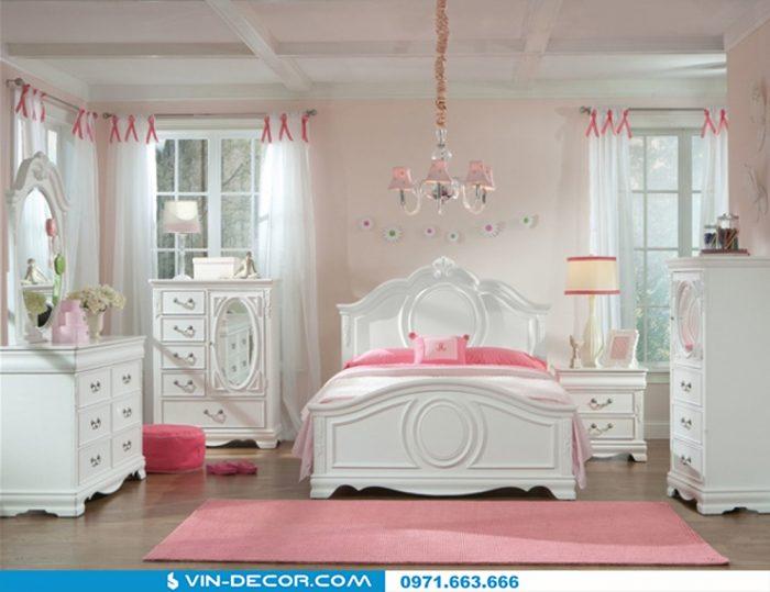 thiết kế nội thất phòng ngủ bé gái tân cổ điển 5