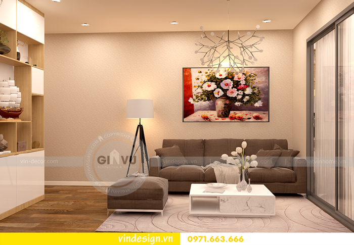 thiết kế nội thất chung cư 1 phòng ngủ đẹp tại vinhomes D Capitale 01