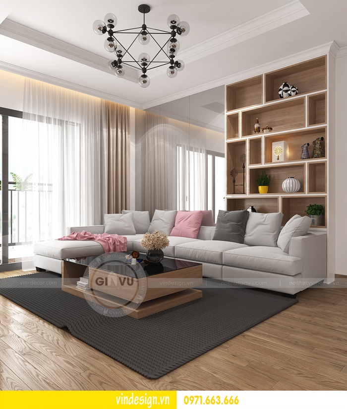 thiết kế nội thất căn hộ 2 phòng ngủ tại vinhomes d capitale 02