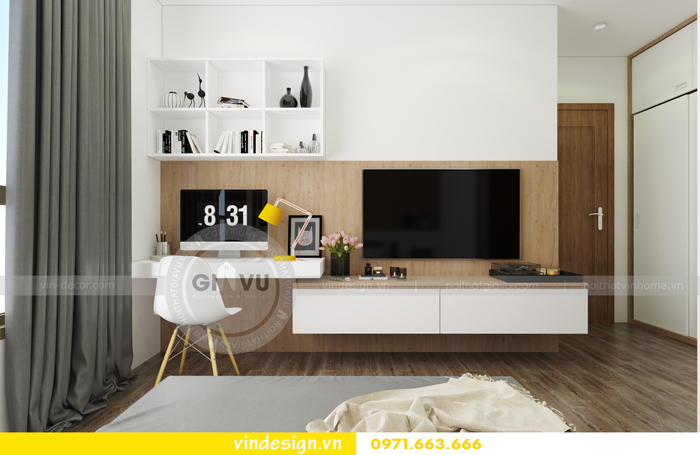 thiết kế nội thất chung cư 3 phòng ngủ đẹp tại vinhomes d capitale 04