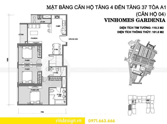 Thiết kế nội thất chung cư gardenia tòa A1 căn 04 số 01