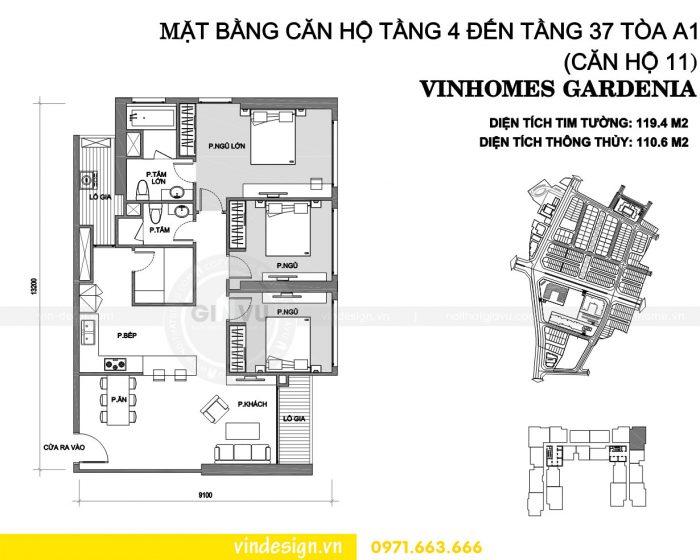 Thiết kế nội thất chung cư gardenia tòa A1 căn 11 số 01