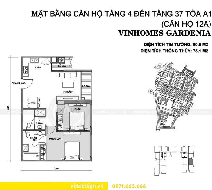 Thiết kế nội thất chung cư gardenia tòa A1 căn 12A số 01
