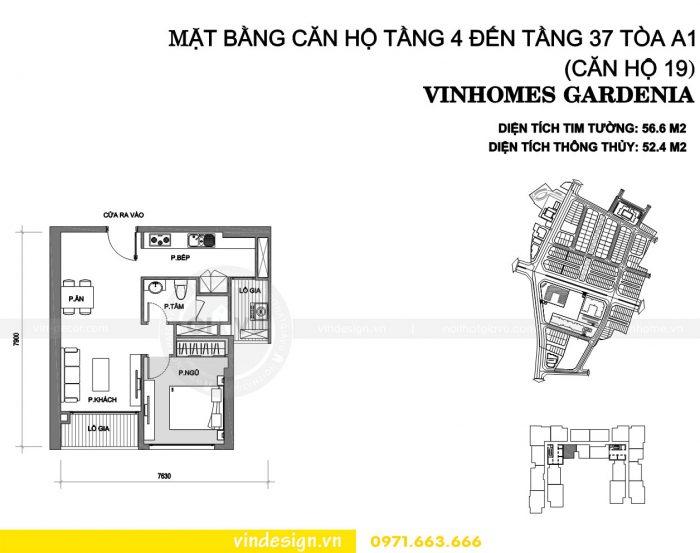 Thiết kế nội thất chung cư gardenia tòa A1 căn 19 số 1
