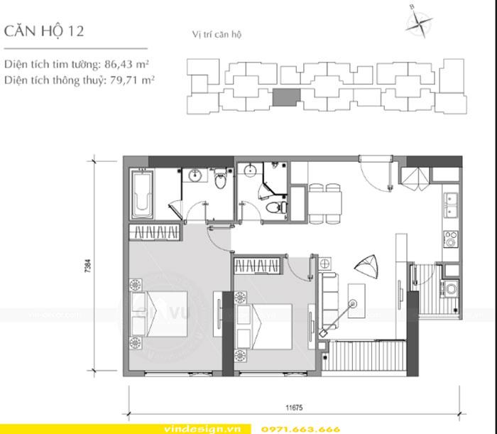 Thiết kế nội thất Vinhomes Gardenia tòa A3 căn 12 view 1