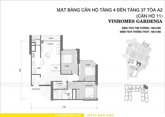 Thiết kế nội thất Gardenia căn 3 phòng ngủ 1