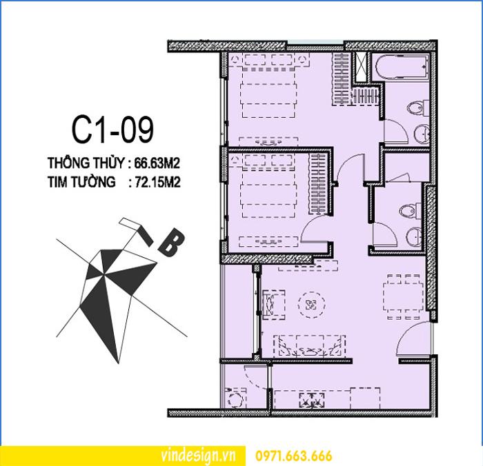 phối cảnh nội thất chung cư D Capitale căn 09 tòa C1