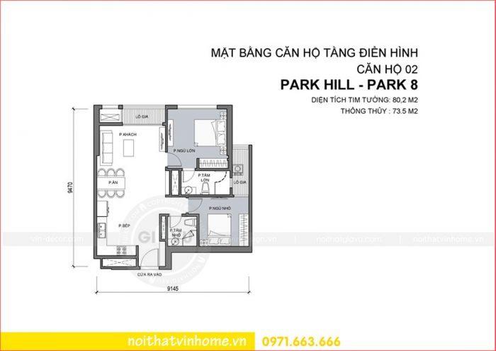 mặt bằng bằng hộ 02 tòa Park 8 Vinhomes Park Hill