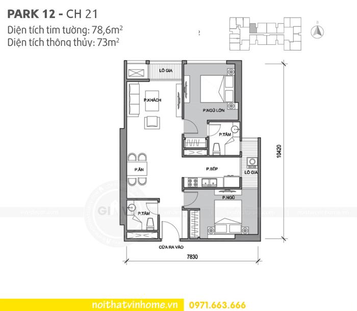 mặt bằng thiết kế căn hộ 21 park 12 Vinhomes Park Hill