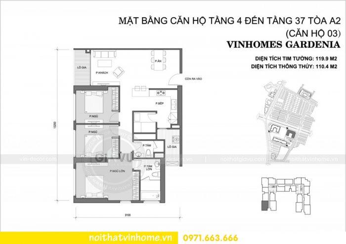 mặt bằng bố trí căn hộ 03 tòa A2 chung cư Vinhomes Gardenia