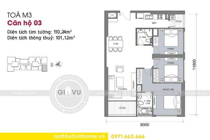 mặt bằng thiết kế chung cư Vinhomes Metropolis tòa M3 căn 03 Chị Anh