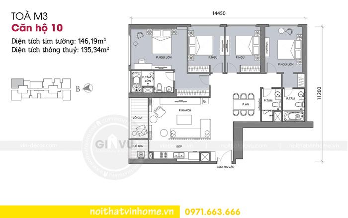 mặt bằng thiết kế căn hộ 10 tòa M3 Vinhomes Metropolis Liễu Giai