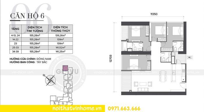 mặt bằng thiết kế nội thất chung cư Sky lake tòa S2 căn 06