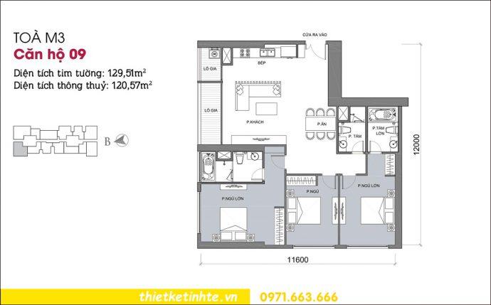 mặt bằng căn hộ 09 tòa M3 chung cư Vinhomes Metropolis Liễu Giai