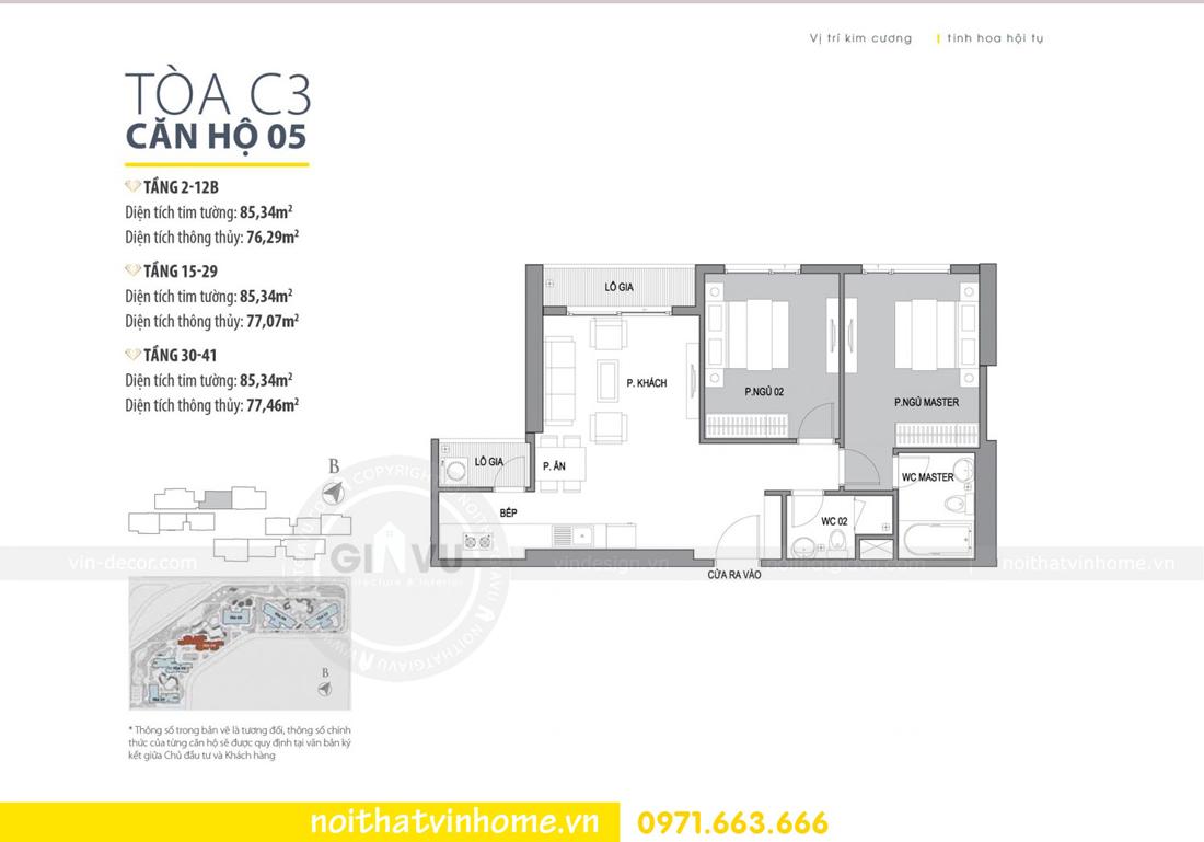 mặt bằng căn hộ 05 tòa C3 chung cư Vinhomes DCapitale Trần Duy Hưng