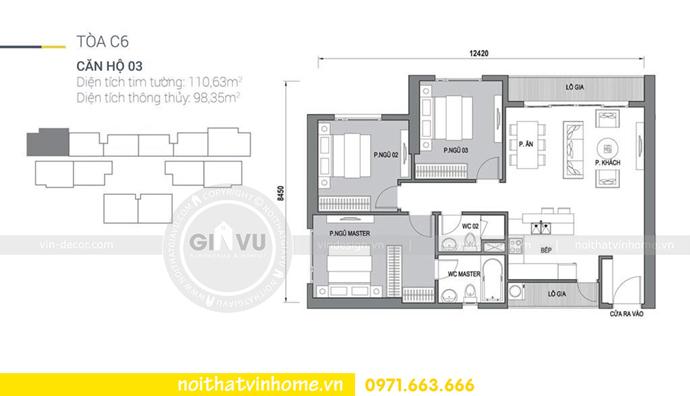 mặt bằng bố trí nội thất căn hộ 03 tòa C6 Vinhomes DCapitale