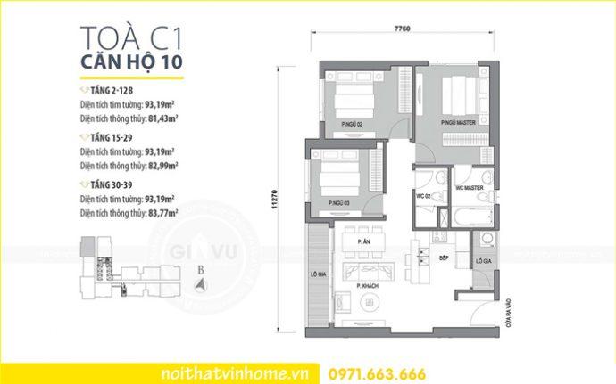 mặt bằng bố trí nội thất căn hộ số 10 tòa C1 Vinhomes D Capitale