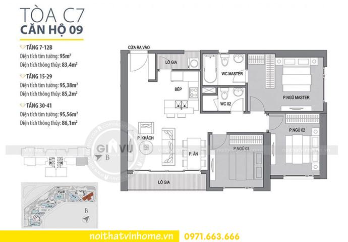 mặt bằng căn hộ 09 tòa C7 Vinhomes D Capitale