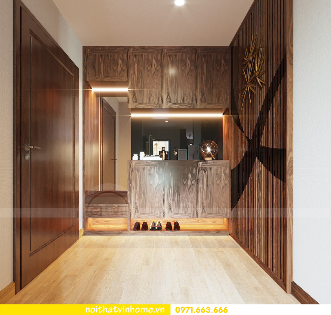 thiết kế thi công nội thất gỗ óc chó tòa M2 căn 11 chung cư Metropolis chú Bình 02