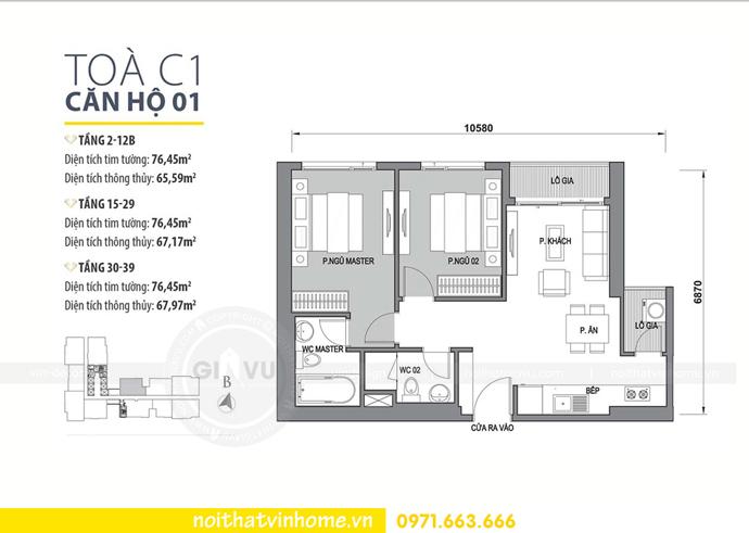 mặt bằng bố trí căn hộ 01 tòa C1 chung cư Vinhomes D Capitale