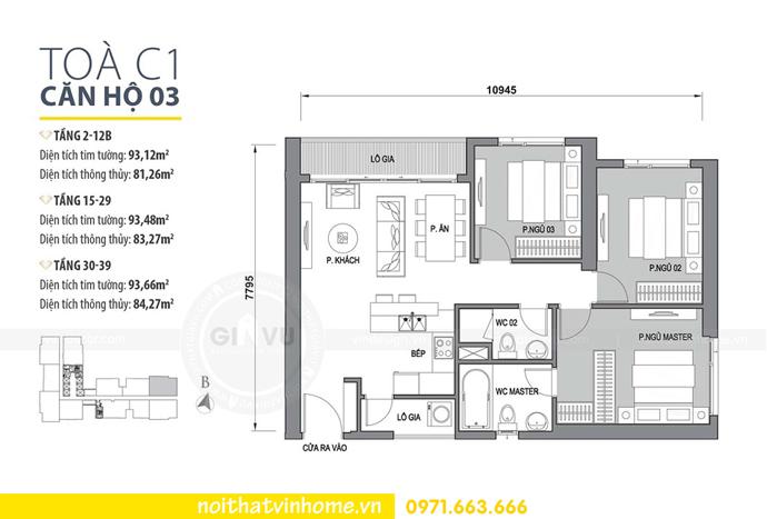 mặt bằng bố trí căn hộ 03 tòa C1 Vinhomes D Capitale Trần Duy Hưng