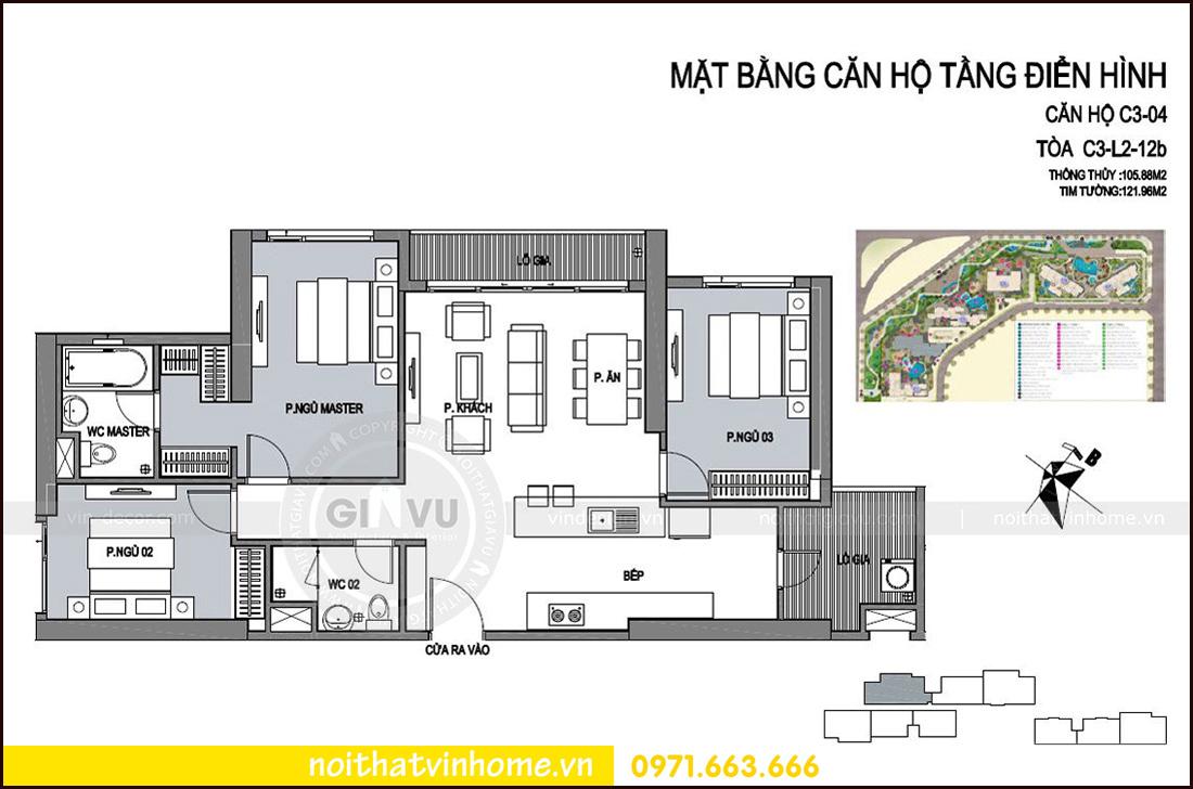 mặt bằng thiết kế căn 04 tòa C3 chung cư Vinhomes D Capitale Trần Duy Hưng