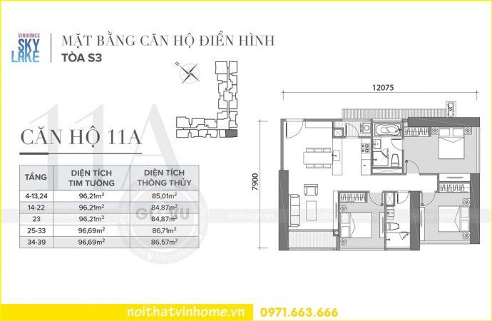 mặt bằng thiết kế căn hộ 11A tòa S3 Vinhomes Skylake Phạm Hùng