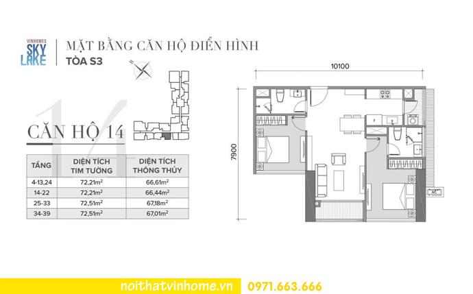 mặt bằng thiết kế căn hộ 14 tòa S3 Vinhomes Skylake