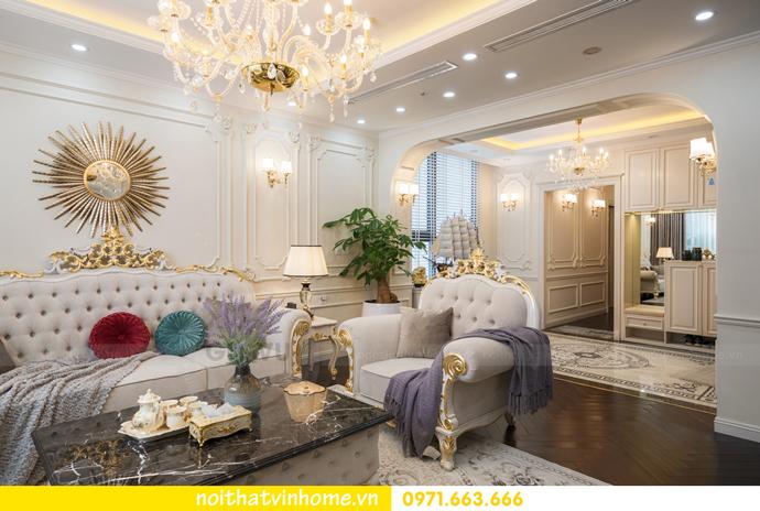 hoàn thiện nội thất chung cư tân cổ điển Vinhomes Green Bay nhà chị Lan 3