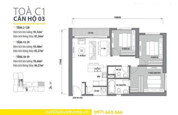 mặt bằng căn hộ 03 tòa C1 Vinhomes D Capitale Trần Duy Hưng