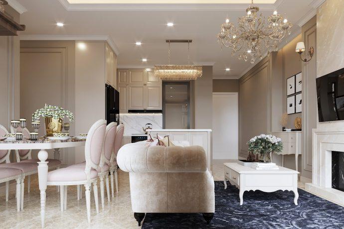 nội thất chung cư tân cổ điển tại Vinhomes DCapitale tòa C1 căn 10 nhà anh Tân
