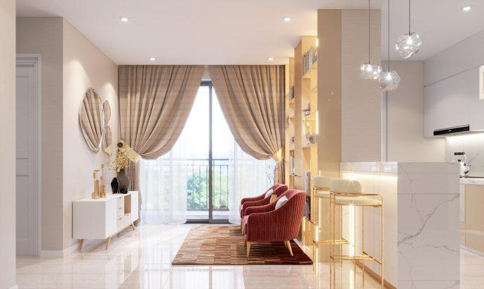 thiết kế nội thất căn hộ chung cư DCapitale C108 nha anh Hoài