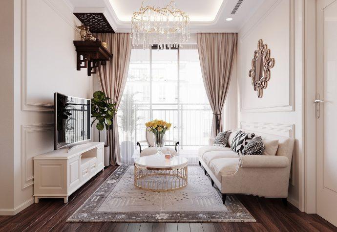 thiết kế nội thất hiện đại tại Vinhomes D Capitale gia đình chị Lệ