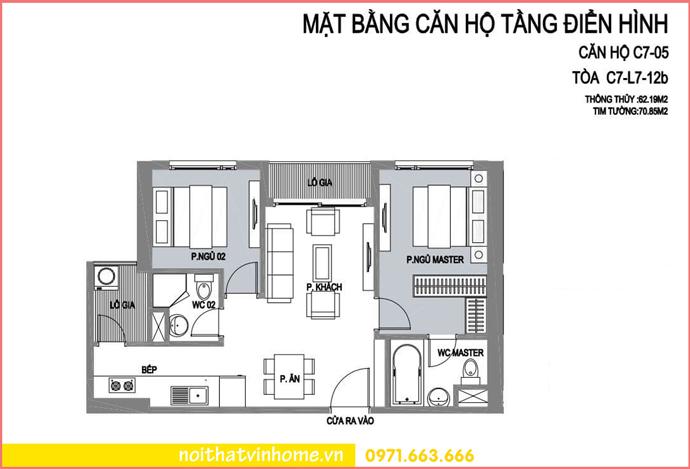 mặt bằng căn hộ 05 tòa C7 chung cư D Capitale Trần Duy Hưng