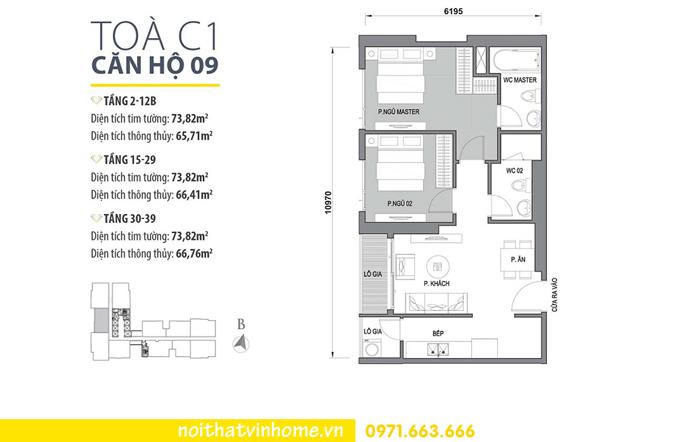 mặt bằng căn hộ 09 tòa C1 Vinhomes D Capitale Trần Duy Hưng
