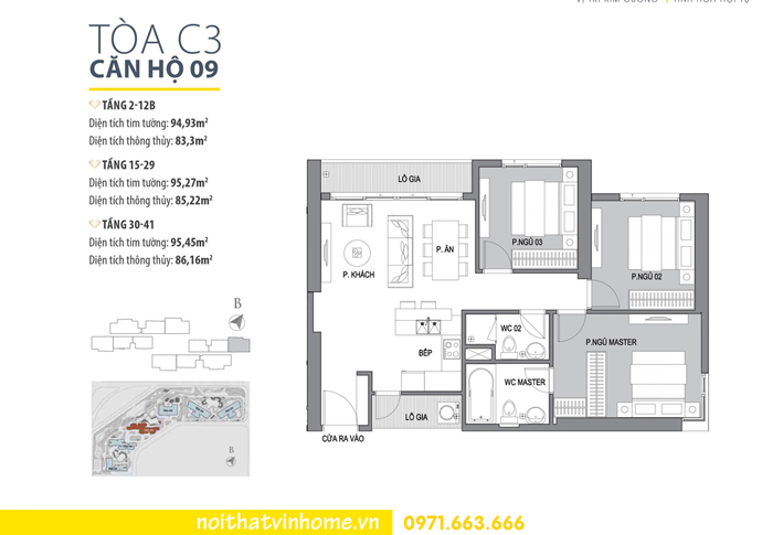 mặt bằng căn hộ 09 tòa C3 Vinhomes D Capitale