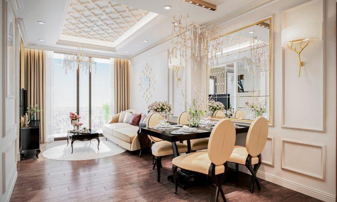 thiết kế nội thất nhà đẹo tại chung cư Vinhonmes Skylake