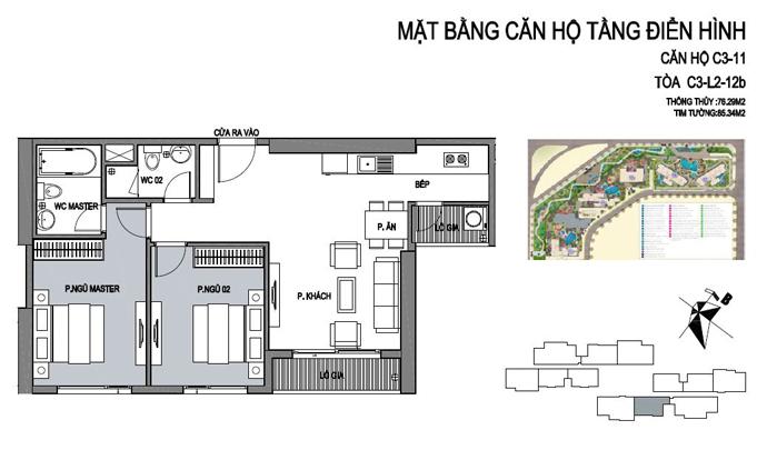 mặt bằng căn hộ 11 tòa C3 Vinhomes D Capitale Trần Duy Hưng