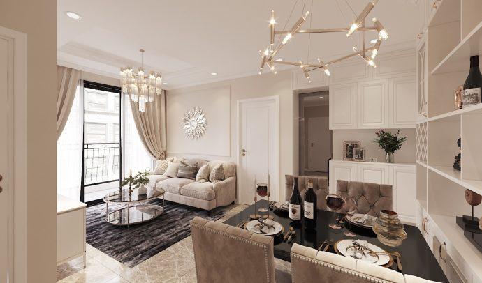 thiết kế nội thất Vinhomes DCapitale tòa C3 căn 02 2 phòng ngủ