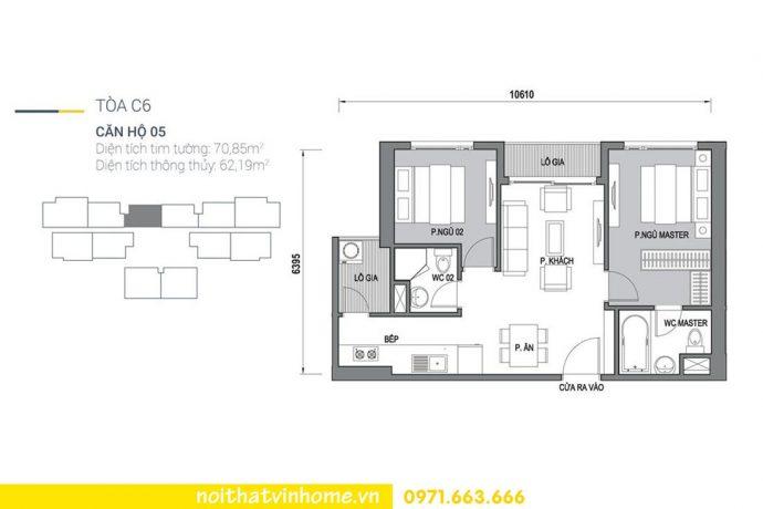 mặt bằng căn hộ 05 tòa C6 chung cư Vinhomes DCapitale