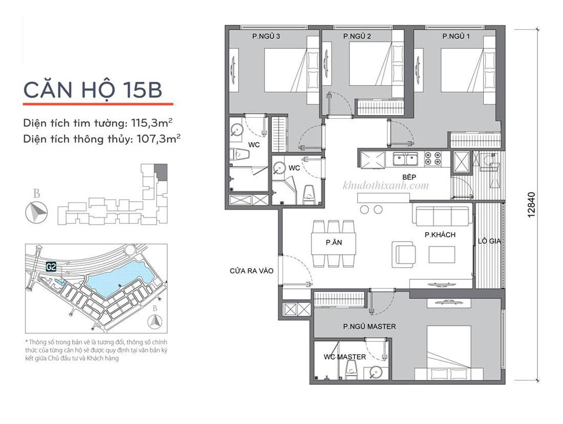 mặt bằng thiết kế căn hộ 15B tòa G2 Vinhomes Green Bay