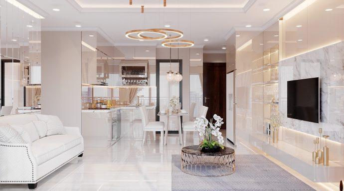 nội thất gỗ acrylic trong thiết kế căn hộ nhà chị Huệ