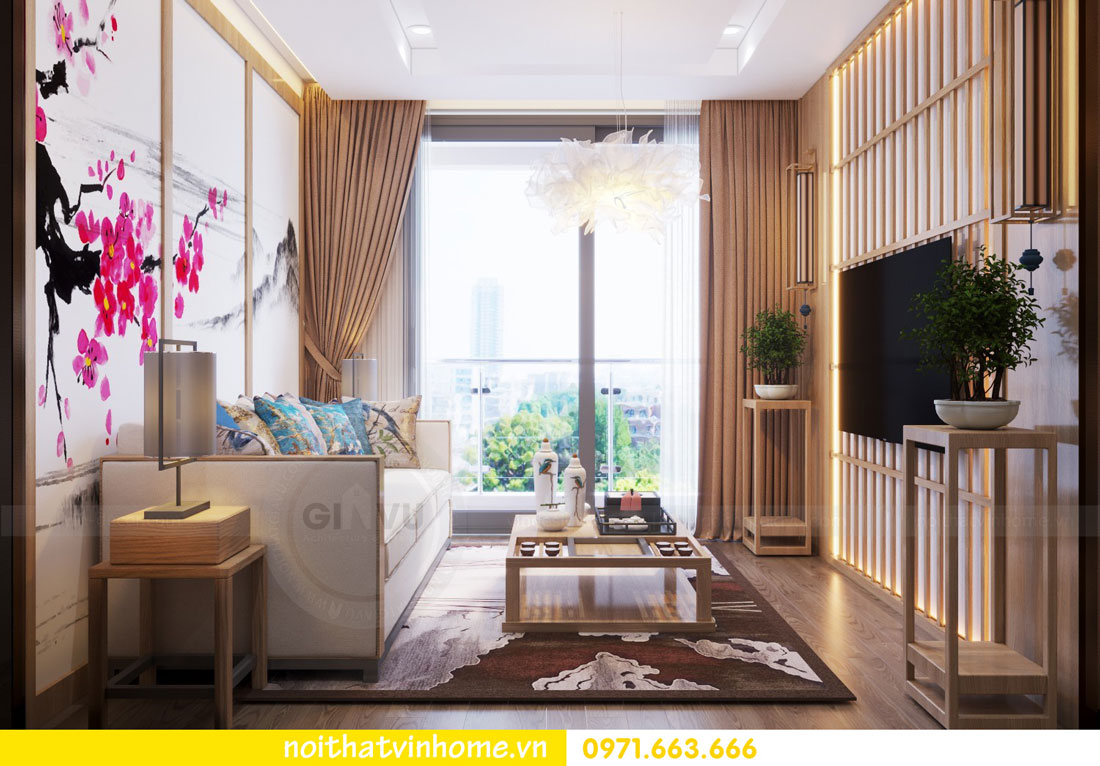 phong cách Nhật Bản trong thiết kế nội thất chung cư nhà chị Vân 02