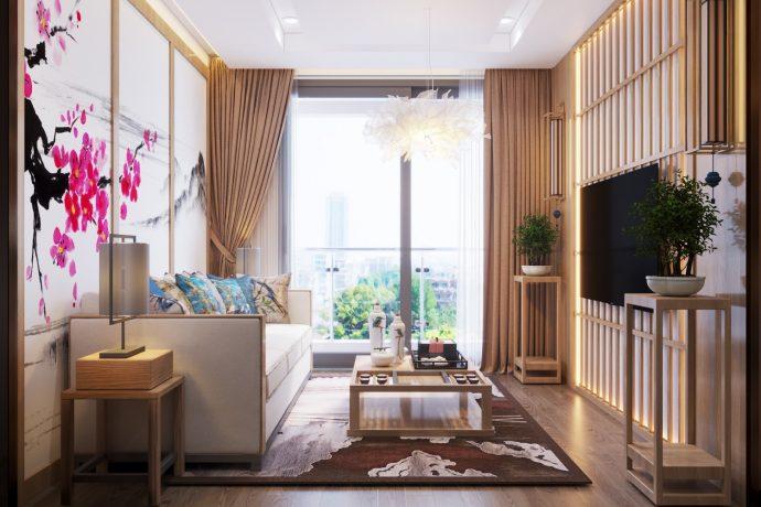 phong cách Nhật Bản trong thiết kế nội thất chung cư nhà chị Vân