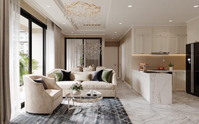 thiết kế nội thất chung cư DCapitale hiện đại tòa C3 căn 03 nhà anh Khánh