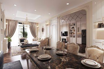 thiết kế nội thất chung cư tân cổ điể nhà anh Kiên