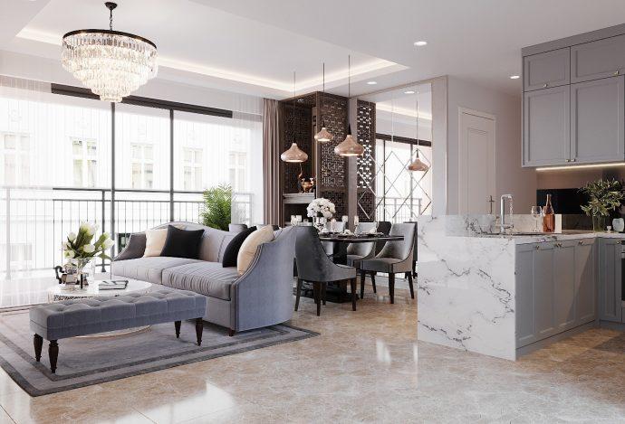 mẫu thiết kế nội thất căn hộ DCapitale C306 nhà anh Hùng