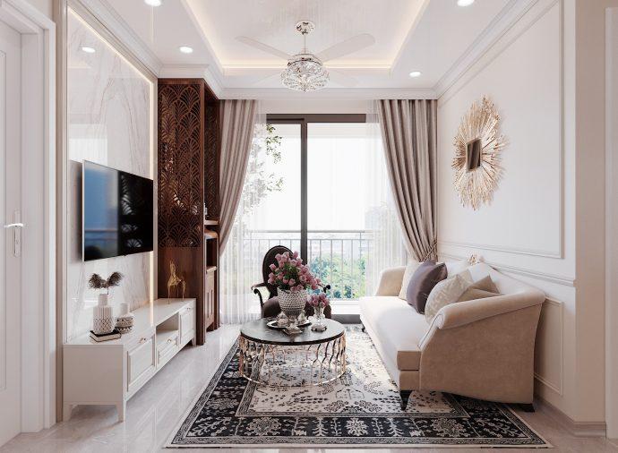 thiết kế nội thất căn hộ 60m2 2 phòng ngủ nhẹ nhàng hiện đại