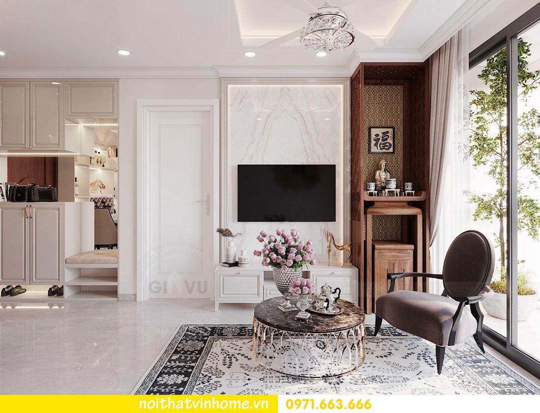 thiết kế nội thất căn hộ 60m2 với 2 phòng ngủ nhẹ nhàng hiện đại 01